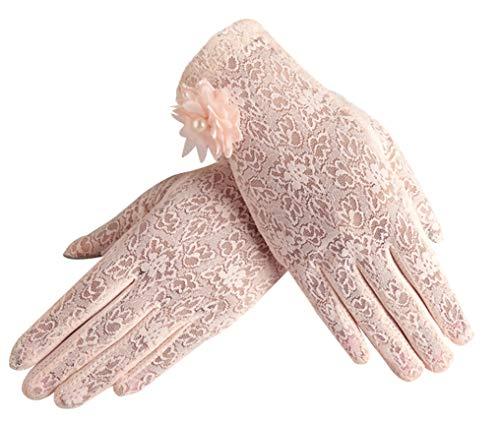 Women Cotton Anti-skid Gloves Sunproof Summer Thin Driving Gloves, Pink]()