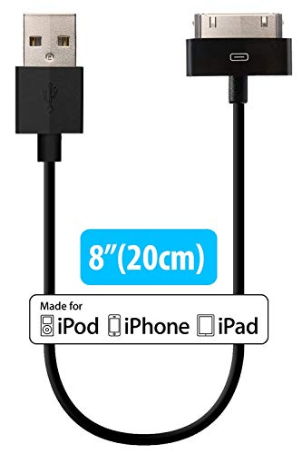 HomeSpot 3 Pack Apple MFi Certified 30 pin to USB Sync and Charge Cable 8inch 20cm Compatible with iPhone 4/4s, iPad 2/3, iPod 1-6 Gen
