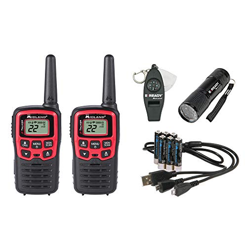 (Midland-EX37VP, E+Ready Emergency Two-Way Radio Kit-Pair of T31VP FRS Two-Way Radios, 9 LED Flashlight, Whistle With Compass and Temperature Gauge, In SoftShell Carrying Case (Pair Pack))