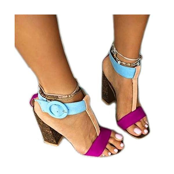 2ef719c48405f Women s Summer T-Shaped Wood-Tone Buckle Block Suede Open Toe Heel Pump  Sandals – Shoes Trunk