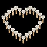 【Heart Photo Pegs】Bigtreestock 40pcs Mini Wooden White Love Heart Pegs Photo Paper Clips wooden pegs for photos Wedding Decor Craft pegs gift wrapping christmas crafts