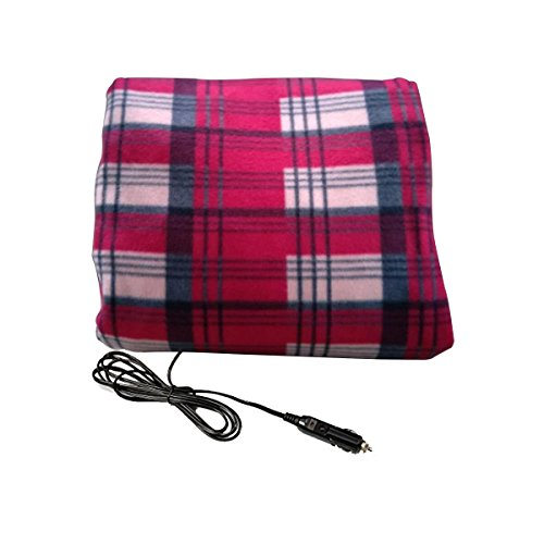 VaygWay Car Heated Travel Blanket – Plaid 12V Automotive Comfortable Heating Car Seat Blanket Great for Summer