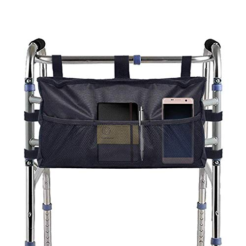 (Walker Bag Hand Free Storage Bag Walker Attachment Handicap Basket Pouch Black)