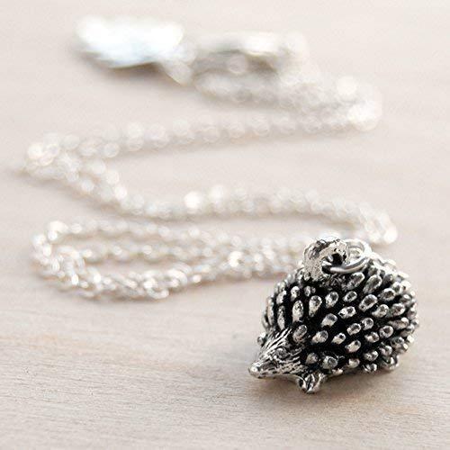 Enchanted Leaves - Little Silver Hedgehog Necklace - Cute Hedgehog Charm Necklace -