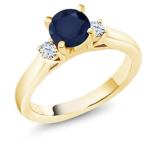 Blue Sapphire Gold 18k Ring - 1.22 Ct Round Blue Sapphire 18K Yellow Gold Plated Silver 3-Stone Ring