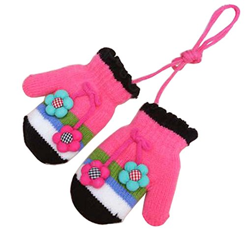 1-2 Y [Flower] 1 Pair Winter Baby Cute Gloves Mittens With String by Black Temptation