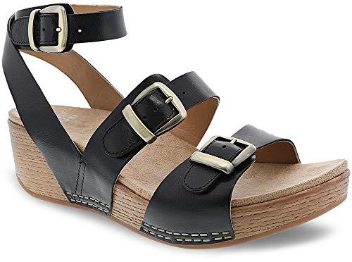 Dansko New Women's Lou Ankle Strap Sandal Black Burnished Calf 37 ()