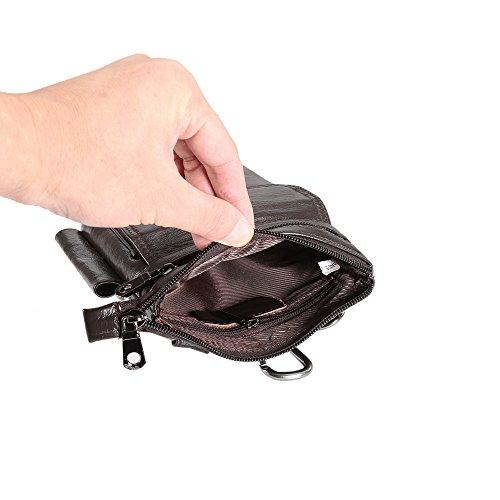 Correa de con del correa de vertical la Funda los bolsa Paquete todos bolsa teléfono auténtico de caja universal cuero celular de gancho Clip Loop la smartphone mensajero para café tel Tamaño Monedero real xpI4Tp