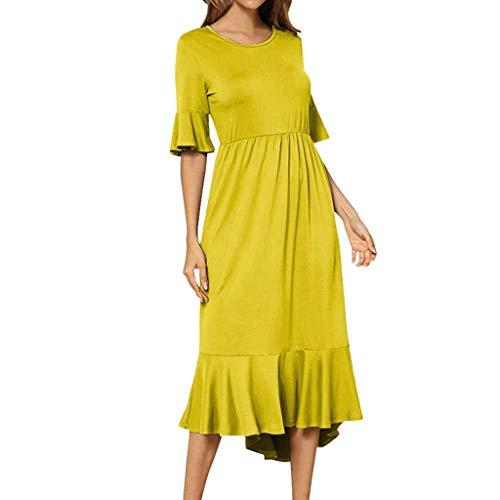 Women's Summer Casual T Shirt Dresses Flared Sleeve Empire Waist Maxi Dress Vintage High Low Ruffle Hem A Line Midi Dress Yellow