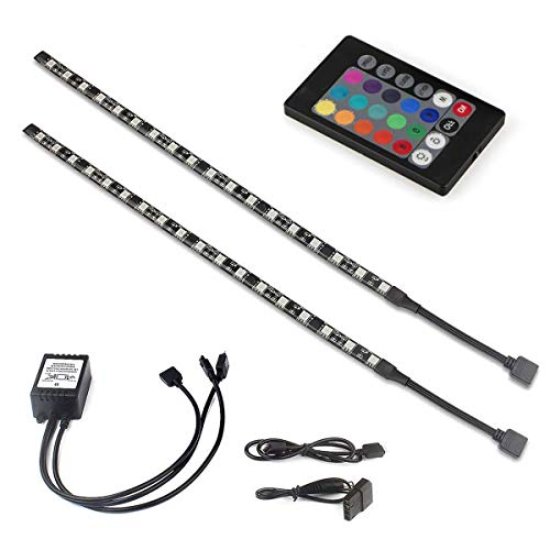 Computer Magnetic LED Strip Kit, tento lighting Super Strong Magnet Easy to be Fixed on You PC Case - High Brightness 2pcs 15inch RGB LED Strip Light with PU Tubes -