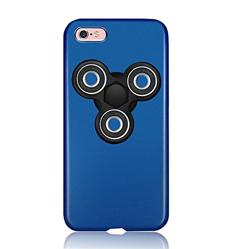 """Price comparison product image KOSBON Hard Thin Protective Cover Cases Phone Case with Fidget Finger Spinner Protable Removeable for IPhone 7/7 Plus Iphone 6/6s/6Plus (I blue case+black spinner, For iPhone 6 Plus/6s Plus 5.5"""")"""