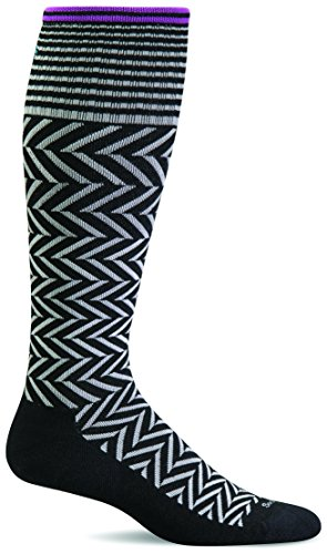 Sockwell Women's Chevron Graduated Compression Socks, Black, Medium/Large