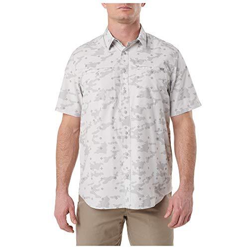 5.11 Camisa táctica de manga corta para hombre Crestline Camo de poliéster y algodón, abotonada, estilo 71377