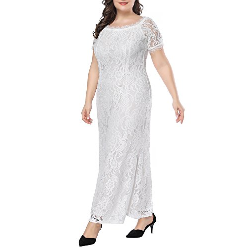Prior Jms Womens Plus Size Lace Bridesmaid Dresses Maxi Wedding Dresses Off Shoulder Evening Cocktail Party Prom Gown by Prior Jms