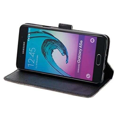 Funda Samsung Galaxy A510, Blanco morado Funda Libro de Cuero Flip Cover con TPU Case Interna Para Samsung Galaxy A510, Wallet Case con Soporte Plegable, Ranuras para Tarjetas y Billete Nero