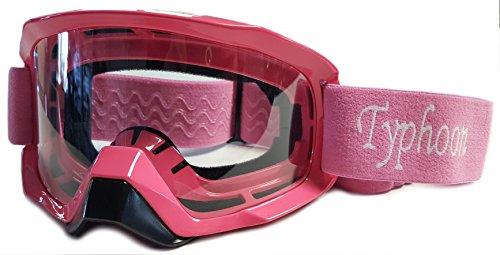 Typhoon Motocross Offroad ATV Dirt Bike MX Goggles , Pink w/ Clear - Return See Policy Eyewear