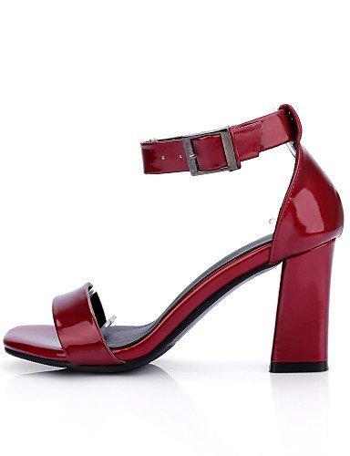 ShangYi Womens Shoes Chunky Heel Open Toe Sandals Dress Black / White / Burgundy White