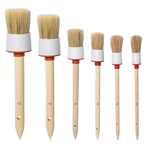 PROMMON Natural Boar Hair Detail Brush,Auto Detailing Brush Set Car Detailing Brushes for Cleaning Wheels,Dashboard, Interior,Exterior,Leather,Air Vents,Emblems Pack of 6Pcs