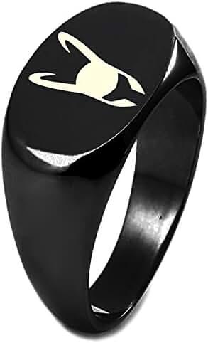 Sterling Silver Marvel Loki Logo Engraved Oval Flat Top Polished Ring