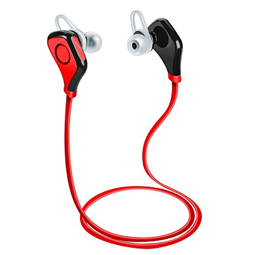 Price comparison product image Jennyfly Sport Earbuds for Running,Bluetooth Richer Bass HiFi Stereo In-Ear Earphones w/Mic, Noise Cancelling Headsets for iPhone Smart Phones - Red