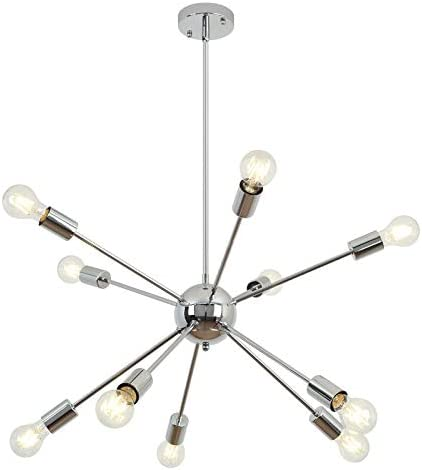 Chrome Sputnik Chandeliers 10 Light,Modern Industrial Pendant Lighting Fixture
