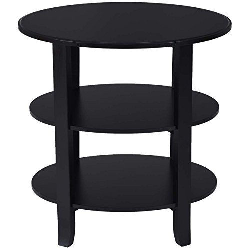 Oval Coffee Table 3 Tiers End Table Accent Display Shelf with Legs Wooden Black -