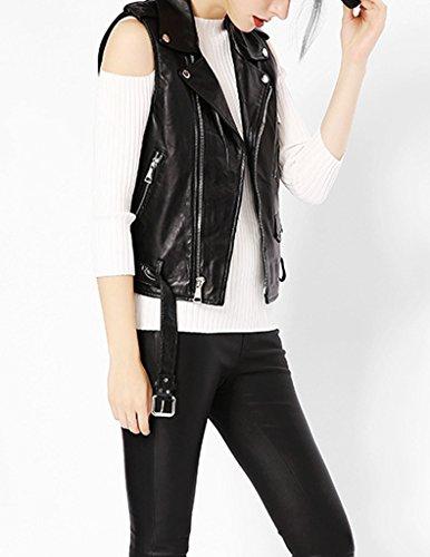 sans Fermeture Noir motard simili Blouson imitation Veste femme cuir printemps asymtrique YoungSoul t en manche clair Gilet d avec cuir HIfqn