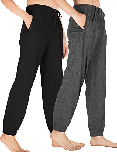 WEWINK CUKOO Womens Pajama Pants Cotton Sleep Pants Stretch Knit Lounge Pants with Pockets (XXL=US 20-22, Black+ Granite Gray/Jogging-Legged)