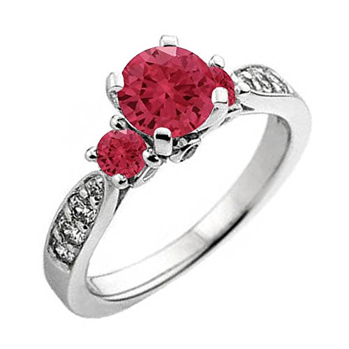 Dazzlingrock Collection 10K Round Ruby & White Diamond Ladies 3 Stone Bridal Engagement Ring, White Gold, Size 7