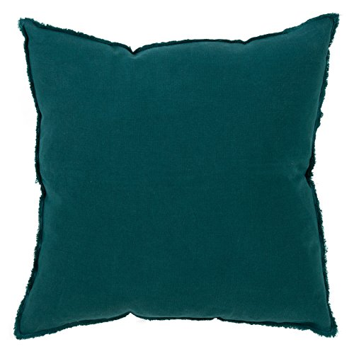 SARO LIFESTYLE Graciella Collection 100 Linen Down-Filled Throw Pillow with Fringed Edges, 20 , Jasper Green