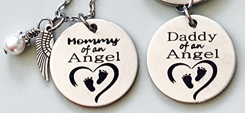 Mommy and Daddy of an Angel Engraved Memorial Necklace with Simulated Pearl and Keychain set by Dots of Sugar (Angel Engraved Keychain)