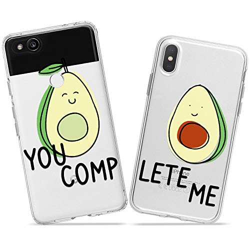 (Wonder Wild Cute Avocado Couple Case iPhone Xs Max X Xr 10 8 Plus 7 6s 6 SE 5s 5 TPU Clear Gift Apple Phone Cover Print Protective Double Pack)