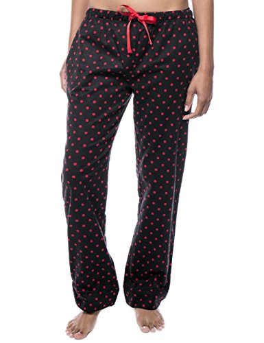 Cotton Flannel Lounge Pants - Dots Diva Black/Red - Small ()