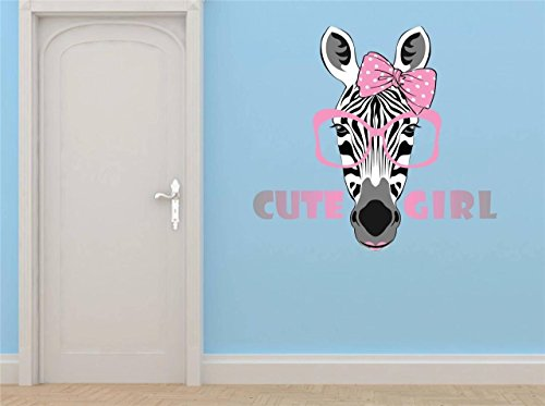 Top Selling Decals - Prices Reduced : Zebra Girl With Sunglasses Bow Wall Sticker Size: : 20 Inches X 30 Inches - 22 Colors Available