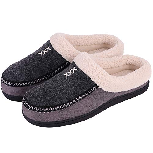 Men's Cozy Memory Foam Micro Woolen Plush Fleece Slippers Slip On Clog House Shoes w/Hand-Craft Woven Trim (US Men's 7-8, Black)
