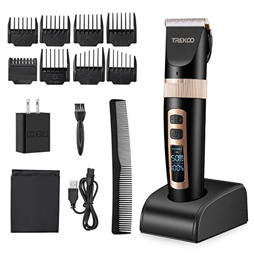 TREKOO Professional Hair Clippers Head Clippers for Men Beard Hair Trimmer Haircut Hair Cutting Kit Cordless USB Rechargeable with LCD Display and 5 Adjustable Speeds for Boy, Kids and Babies