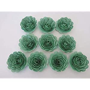 Mint Party Decorations, 10 Seafoam Green Roses, 3 Inch Paper Flowers Set, Gender Neutral Baby Shower Decor, Nursery Wall Decor, Wedding Supplies 53