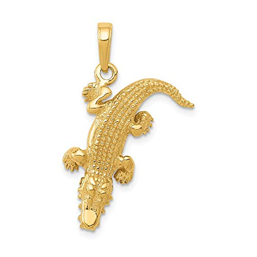 14k Yellow Gold Moveable Alligator Pendant Charm Necklace Animal Crocodile Man Fine Jewelry Gift For Dad Mens For Him ()