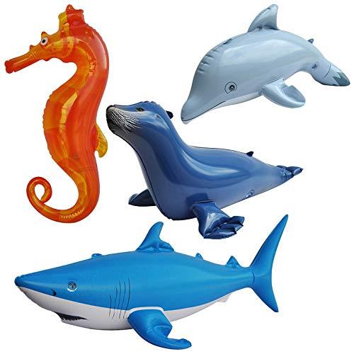 - Jet Creations Inflatable Ocean Life Sea Underwater Assorted Bathtub Toys Educational ,4 Count JC-OCEAN01