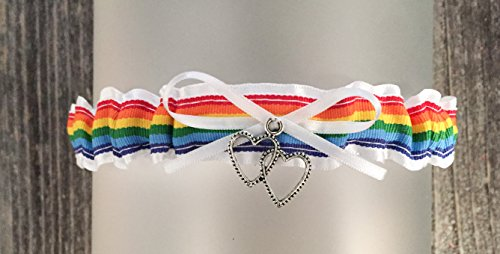SEXY White Rainbow Wedding Tossing Demi Bridal Garter - Double heart Charm