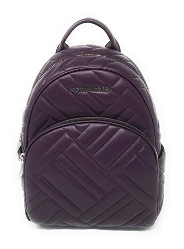 (Michael Kors Abbey Medium Chevron Quilted Leather Backpack Damson)