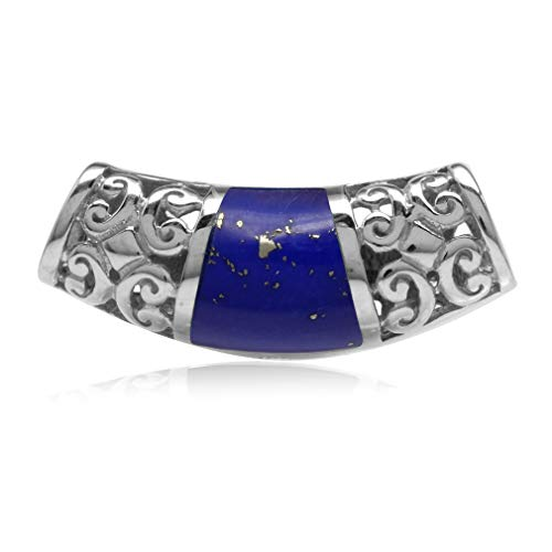 (Created Lapis Inlay White Gold Plated 925 Sterling Silver Filigree Slide Pendant)
