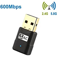 Warmstor AC600 Mbps Wireless Network Adapter, 802.11ac Dual Band 2.4G/5G Mini USB Wifi Dongle for PC Desktop Laptop Support Win 2000/XP/Vista/7/8/10, Mac OS X 10.4 - 10.12