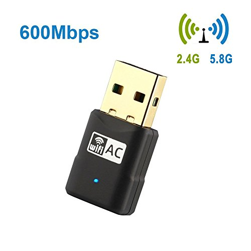 Warmstor AC600 Mbps Wireless Network Adapter, 802.11ac Dual Band 2.4G/5G Mini USB Wifi Dongle for PC Desktop Laptop Support Win 2000/XP/Vista/7/8/10, Mac OS X 10.4 - 10.12 by Warmstor