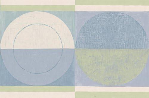"""抽象的な幾何学的デザイン青緑のベージュセミサークルバスルームキッチン壁紙ボーダーロール15 'x 7 """""""