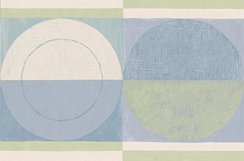 Abstract Blue Green Beige Semi Circles Bathroom Kitchen Wallpaper Border Geometric Design, Roll 15' x 7''