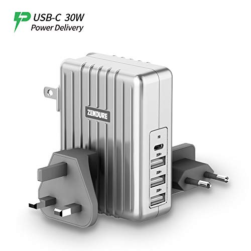 USB-C Wall Charger, Zendure 4-Port 45W PD Charger with a 30W Power Delivery Port (QC 3.0 Compatible) and 3 Zen+ Smart Fast-Charging Ports for MacBook, iPhone X/ 8 Plus, Samsung S8 and More - Silver