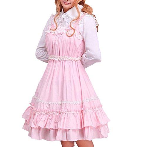 Aermellos Stretch Rosa Kleid Damen Cosplay Frauen Lolita Kleid Suess Gothic Partiss Rosa dress 0HI80