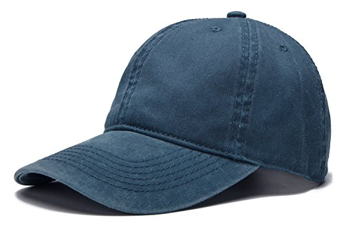 Distressed Logo Cap - Edoneery Adjustable Washed Twill Low Profile Cotton Baseball Cap Hat(Navy Blue)