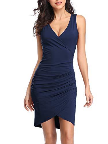 VETIOR Sleeveless Bodycon Dress, Deep V Neck Ruched Wrap Front Slit Bodycon Mini Club Dress Navy